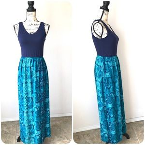 Hanni Teal Blue Tank Top Maxi Dress S